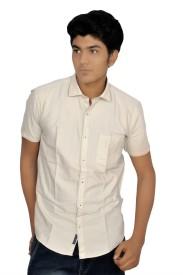 JG FORCEMAN Men's Printed Casual White Shirt