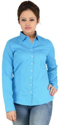 Elle Et Lui Women's Polka Print Formal Blue Shirt