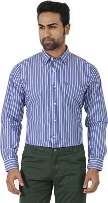 London Fog Men's Striped Formal Dark Blue, White Shirt