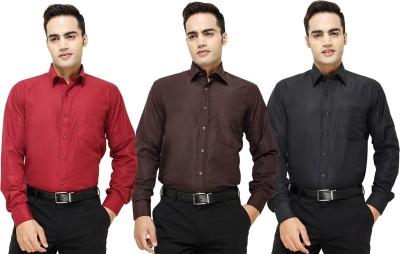 Yuva Men's Solid Formal Maroon, Brown, Black Shirt