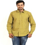 TT Men's Checkered Casual Yellow Shirt