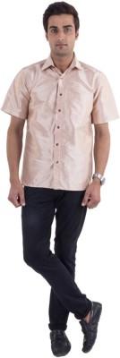 Scot Wilson Men's Solid Casual Beige Shirt