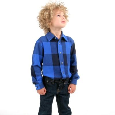 Cherry Crumble California Boy's Checkered Casual Blue, Black Shirt