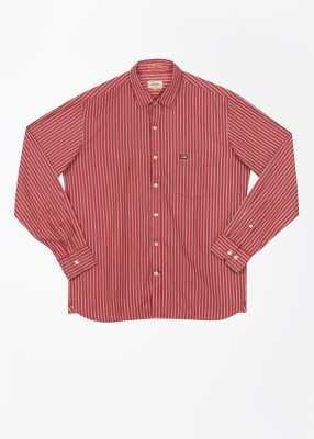 Arrow Sports Men's Striped Casual Red Shirt