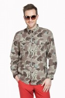 Cotton World Formal Shirts (Men's) - Cotton World Men's Printed Formal Green Shirt