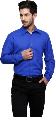 Thousand Shades Men's Solid Formal Blue Shirt
