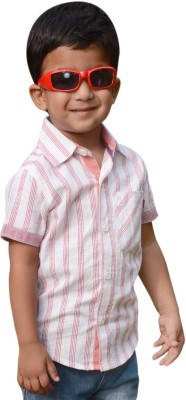 Snowflakes Boy's Striped Casual White, Red Shirt
