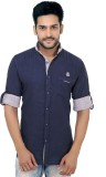 Goplay Men's Solid Casual Blue Shirt