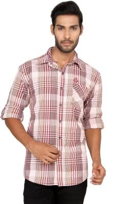 Macoro Men,s Checkered Casual Red Shirt