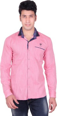 PICKLE Men's Solid Formal Pink Shirt