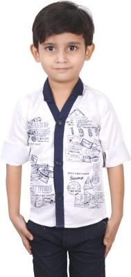 Ice Blue Boy's Graphic Print Casual Blue Shirt
