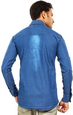 Trinath Men's Self Design Casual Blue Shirt