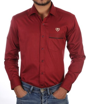 FORTY ONE FITZROY Men's Solid Casual Maroon Shirt