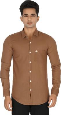 Rug Bee Men's Solid Casual Linen Brown Shirt
