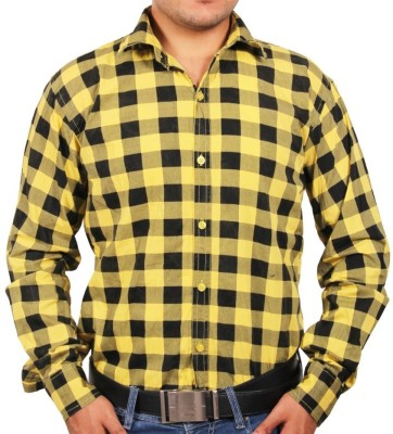 Tims Stuff Men's Checkered Casual Yellow, Black Shirt