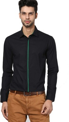 The Design Factory Men's Solid Party Black Shirt