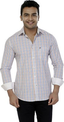 Jazzup Men's Checkered Casual White Shirt