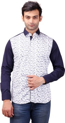 Clubstone Men's Floral Print Casual White Shirt