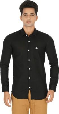 Rug Bee Men's Solid Casual Linen Black Shirt