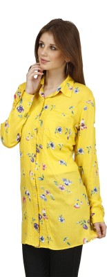 Raaziba Women's Printed Casual Yellow Shirt