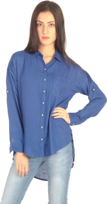 Bombay High Women's Solid Party Dark Blue Shirt