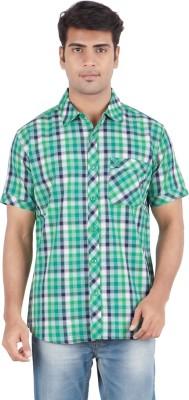 Anytime Men's Checkered Casual Green, White Shirt