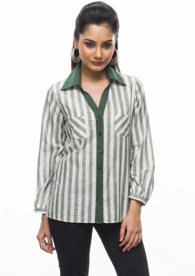Moda Vastra Women's Striped Casual Green, White Shirt
