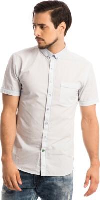 Specimen Men's Geometric Print Casual White Shirt