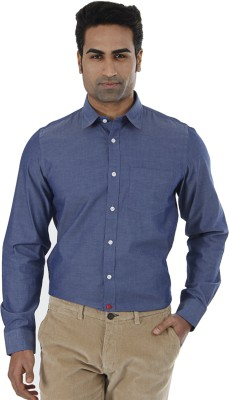 London Fog Men,s Solid Casual Dark Blue Shirt