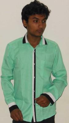 Silvercuffs Men's Self Design Casual Light Green Shirt