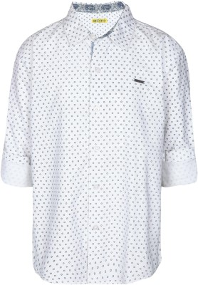 Gini & Jony Boy's Printed Casual White Shirt