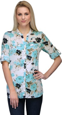 Curvy Q Women's Floral Print Casual White, Light Blue Shirt