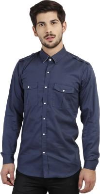 Marcello And Ferri Men's Solid Casual Dark Blue Shirt