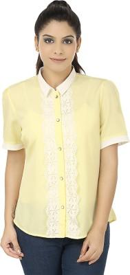 Elmo Women's Solid Casual Yellow Shirt