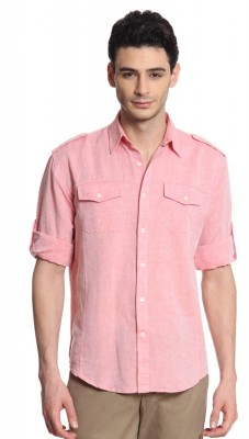 Cotton World Men's Solid Casual Linen Red Shirt