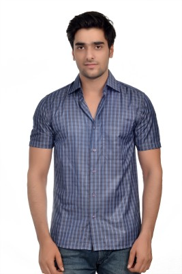 Parv Collections Men's Checkered Casual Blue Shirt