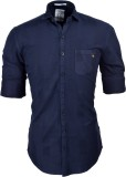 So Design Men's Self Design Casual Blue ...