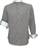 Darium Men's Checkered Casual White, Bla...