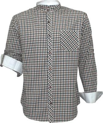 Darium Men's Checkered Casual White, Black, Brown Shirt