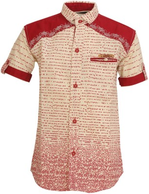 Font Kids Boy's Printed Casual Red Shirt