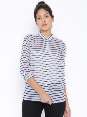 Silly People Women's Striped Casual White Shirt