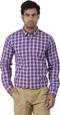 London Fog Men's Checkered Formal Light Blue, Purple Shirt