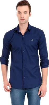 Camrick Men,s Solid Casual Dark Blue Shirt