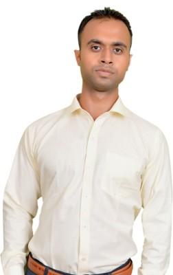 Srjls Men's Solid Formal Yellow Shirt