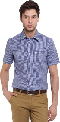 Classic Polo Men's Houndstooth Casual Blue Shirt