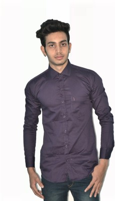 Neptune Men's Self Design Formal Purple Shirt