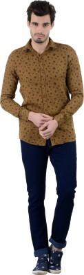 Piccolo Clothings Men's Printed Casual Brown Shirt
