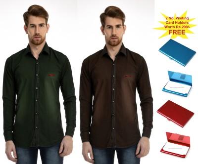 AVSPOLO Men's Solid Casual Green, Brown Shirt