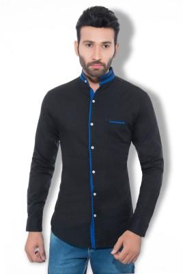 One Sphere Men's Self Design Casual Black Shirt