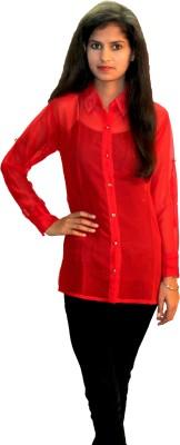 Shonaa Women's Solid Casual Red Shirt
